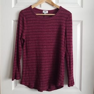 Old Navy Pink/purple Top with Black Stripes